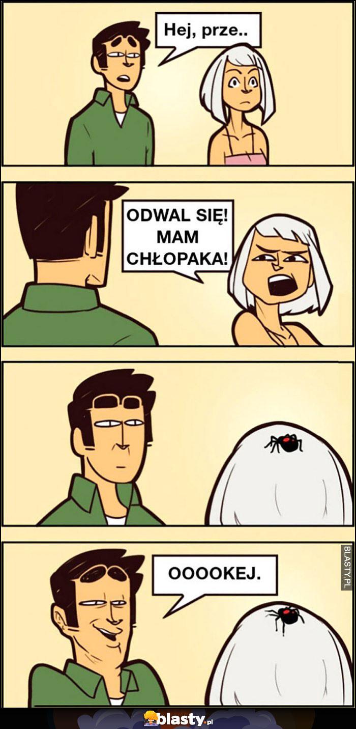 Hej przepraszam, odwal się mam chłopaka, ma pająka na głowie, okej komiks