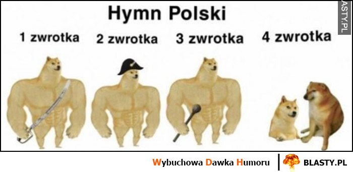Hymn Polski 1, 2, 3, 4 zwrotka pieseł doge