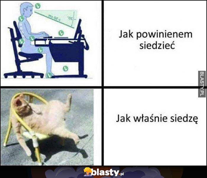Jak powinienem siedzieć vs jak właśnie siedzę kot na krześle