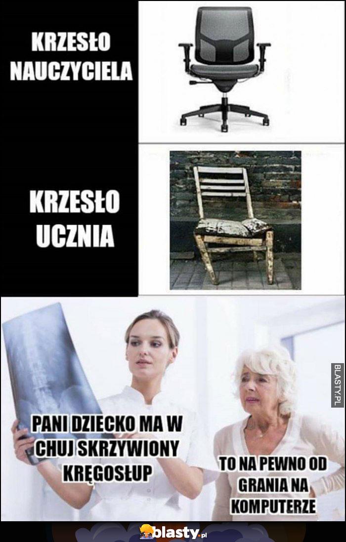 Krzesło nauczyciela vs ucznia, pani dziecko ma skrzywiony kręgosłup, matka: to na pewno od grania na komputerze
