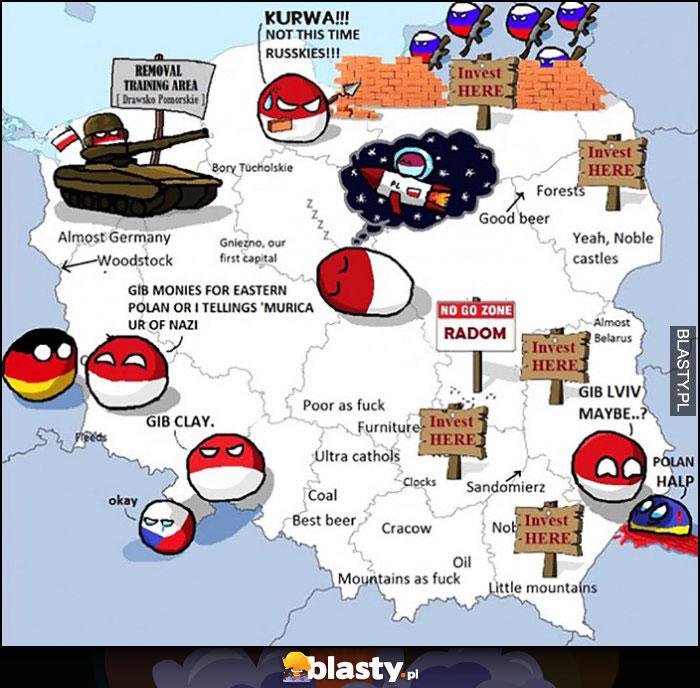 Mapa polski polandball wyjaśnienie Polska