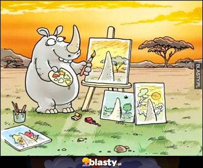 Nosorożec maluje obrazy wszystko zasłania róg