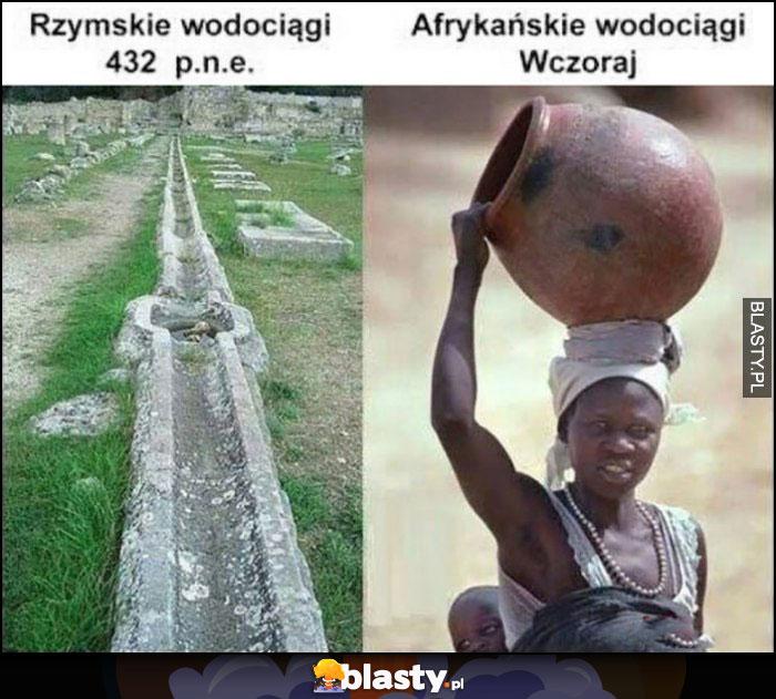 Rzymskie wodociągi 432 pne vs afrykańskie wodociągi wcoraj kobieta z dzbanem na głowie