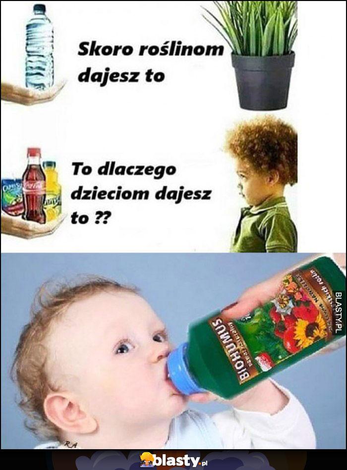 Skoro roślinom dajesz woę to dlaczego dzieciom dajesz słodkie napoje, dziecko pije nawóz
