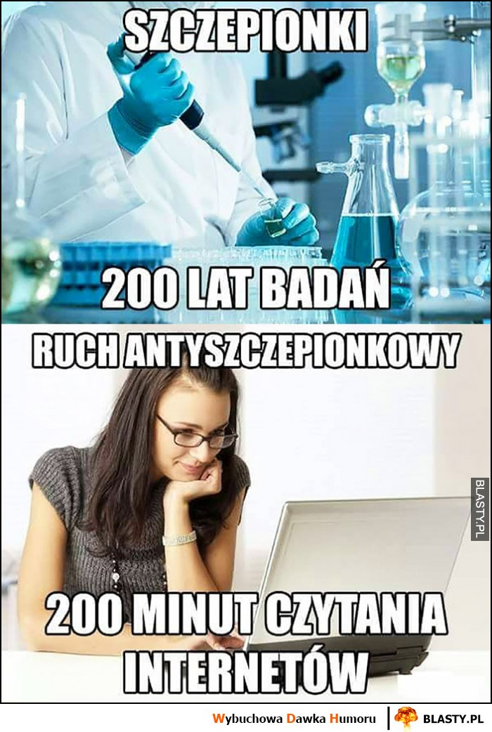 Szczepionki 200 lat badań, ruch antyszczepionkowy 200 minut czytania internetów