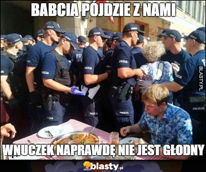 Babcia pójdzie z nami, wnuczek naprawdę nie jest głodny policja policjanci