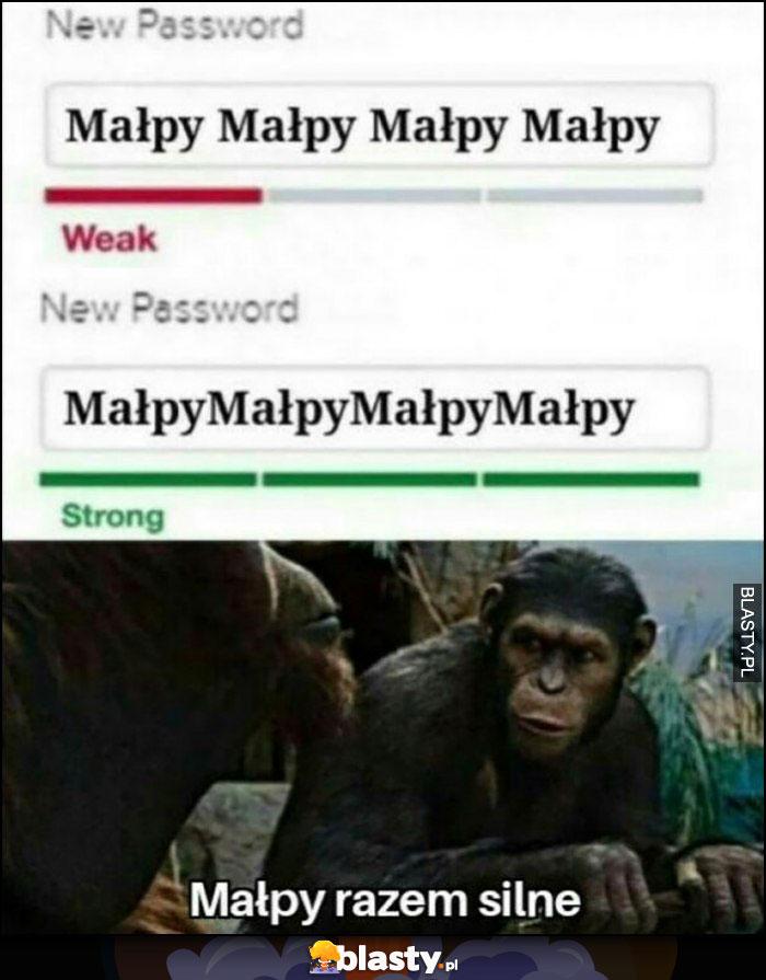 Hasło MałpyMałpyMałpy słabe, MałpyMałpyMałpy silne, małpy razem silne