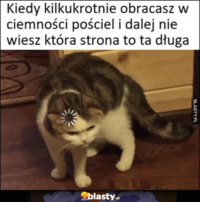 Kot kiedy kilkukrotnie obracasz w ciemności pościel i dalej nie wiesz, która strona to ta długa