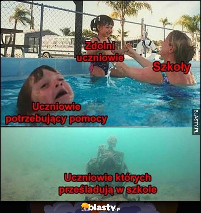 Zdolni uczniowie, szkoły, uczniowie potrzebujący pomocy toną, uczniowie, których prześladują w szkole pod wodą