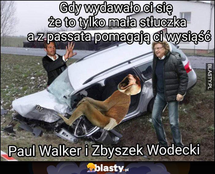 Gdy wydawało ci się, że to tylko mała stłuczka a z passata pomagają ci wysiąść Paul Walker i Zbyszek Wodecki Polak nosacz małpa