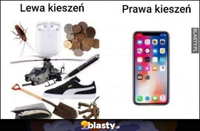 Lewa kieszeń śmieci, prawa kieszeń telefon smartfon