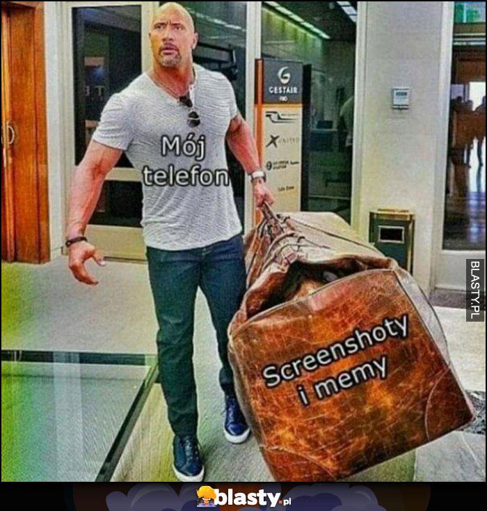 Mój telefon: screenshoty i memy The Rock z wielką torbą