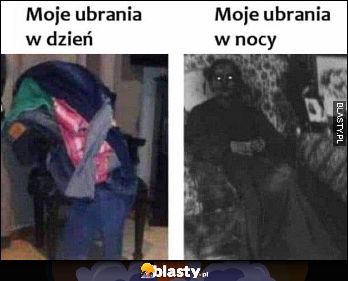Moje ubrania w dzień vs moje ubrania w nocy potwór na krześle