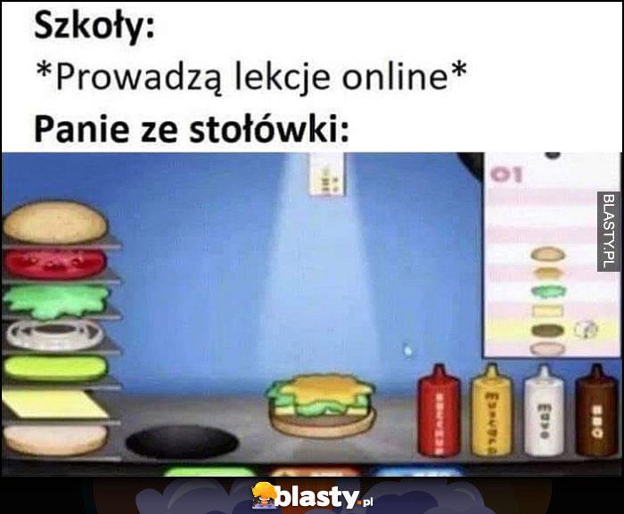 Szkoły: prowadzą lekcje online, panie ze stołówki: robią jedzenie w grze