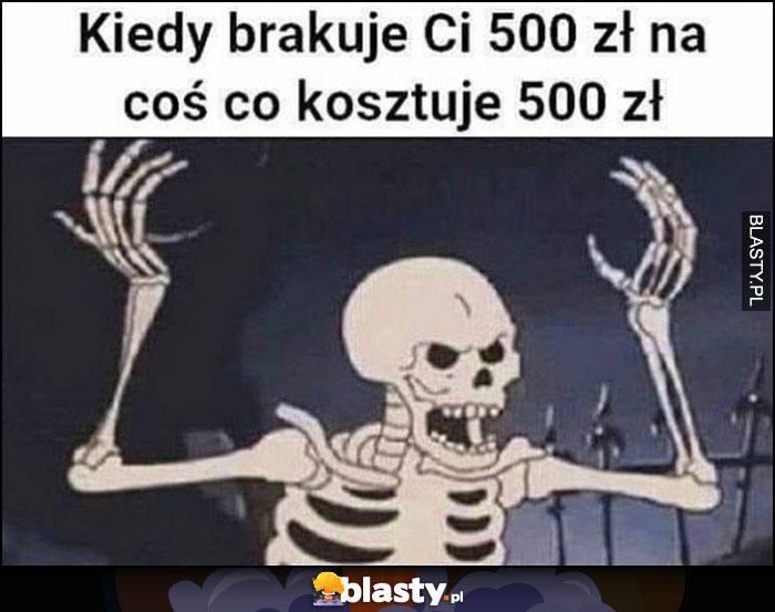 Kiedy brakuje ci 500 zł na coś co kosztuje 500 zł zły wkurzony szkielet kościotrup