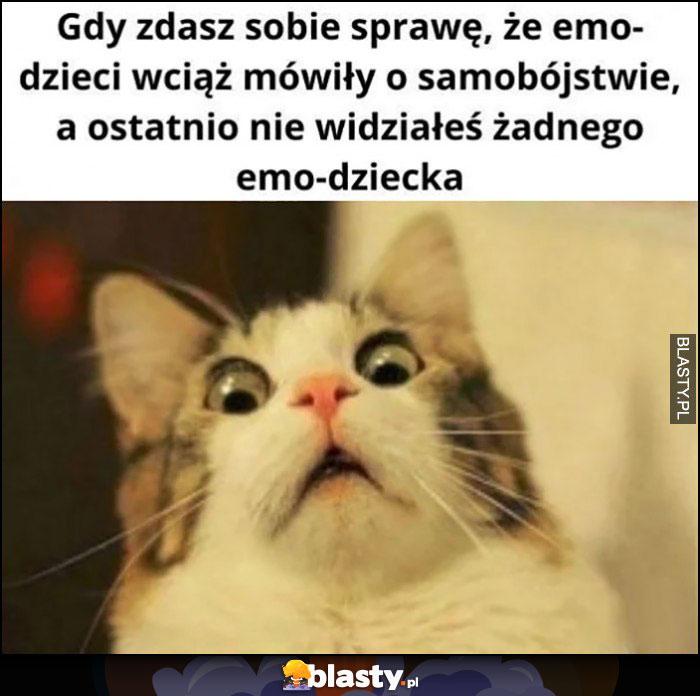 Kot gdy zdasz sobie sprawę, że emo dzieci wciąż mówiły o samobójstwie a ostatnio nie widziałeś żadnego emo-dziecka