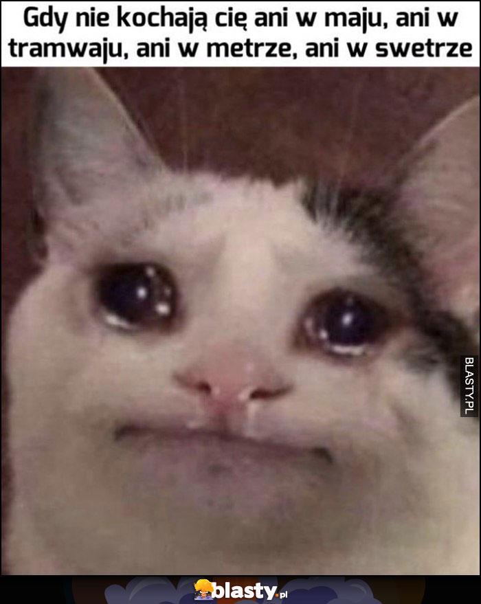 Kot płacze gdy nie kochają cię ani w maju, ani w tramwaju, ani w metrze, ani w swetrze