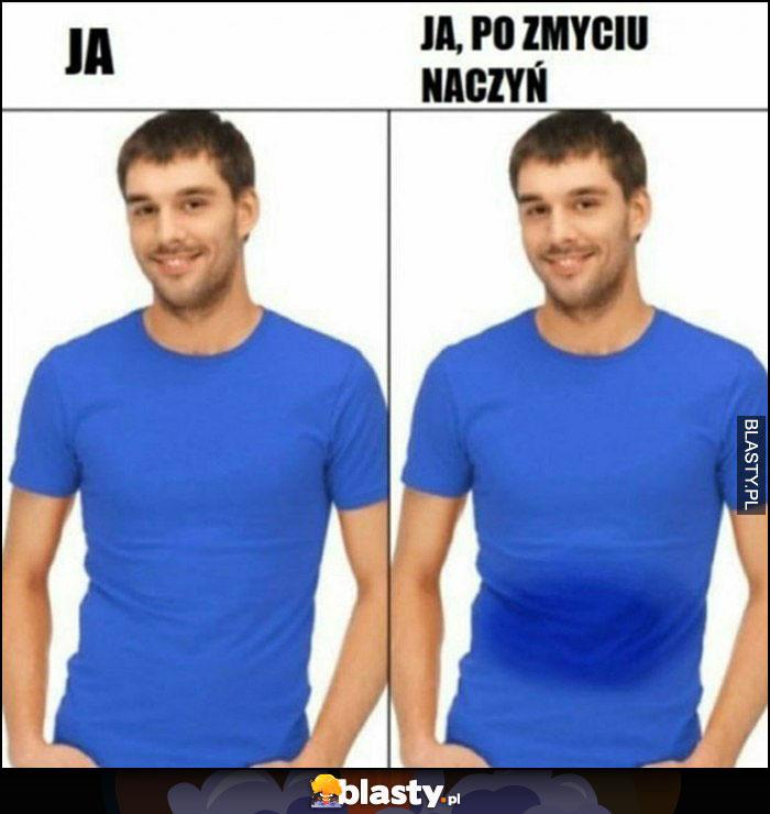 Ja po zmyciu naczyń mokra koszulka