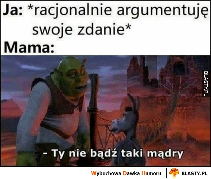 Ja: racjonalnie argumentuję swoje zdanie, mama: Ty nie bądź taki mądry Shrek