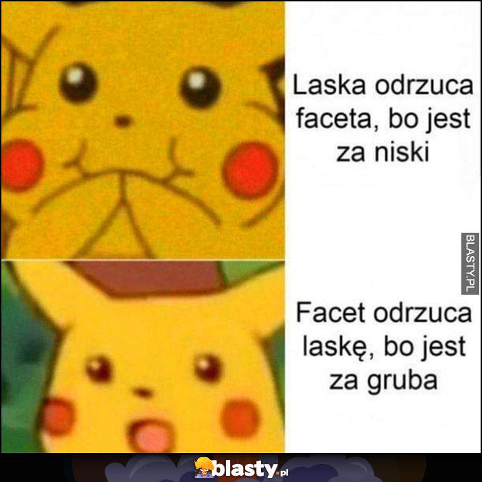 Laska odrzuca faceta bo jest za niski vs facet odrzuca laskę bo jest za gruba Pikachu Pokemon