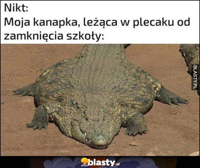 Nikt, moja kanapka leżąca w plecaku od zamknięcia szkoły krokodyl aligator