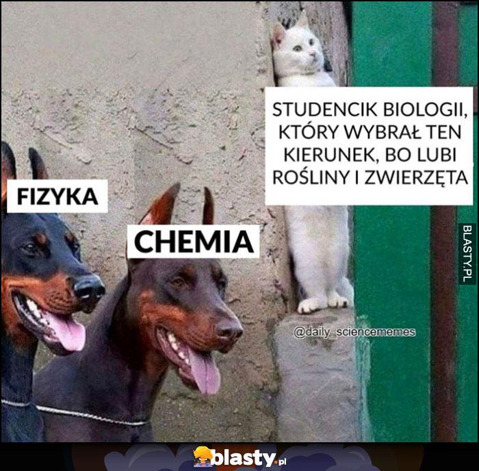 Studencik biologii, który wybrał ten kierunek bo lubi rośliny i zwierzęta kot chowa się przed psami fizyka chemia