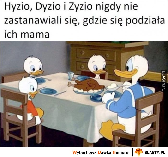 Hyzio, Dyzio i Zyzio nigdy nie zastanawiali się, gdzie podziała się ich mama kurczak pieczeń