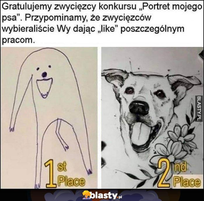 Konkurs na najlepszy rysunek psa, użytkownicy głosowali lajkami, brzydki rysunek wygrał