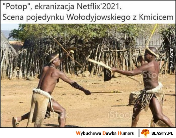 Potop ekranizacja Netflix 2021, scena pojedynku Wołodyjowskiego z Kmicicem murzni walczą w Afryce