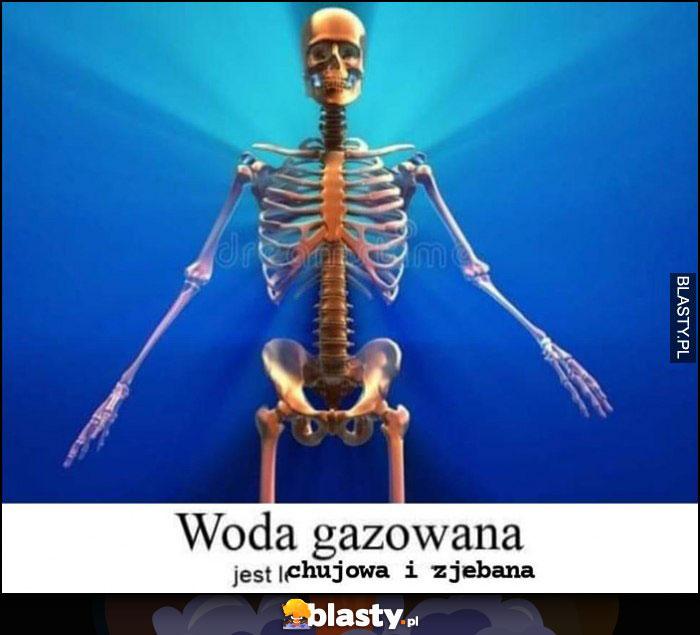 Woda gazowana jest kijowa i zjechana kościotrup szkielet
