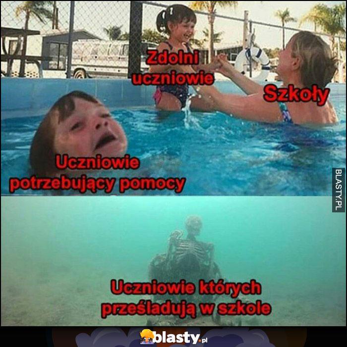 Zdolni uczniowie, szkoły, uczniowie potrzebujący pomocy, uczniowie których prześladują w szkole toną pod wodą na basenie