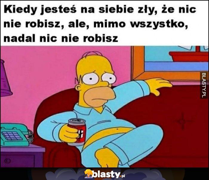 Kiedy jesteś na siebie zły, że nic nie robisz, ale mimo wszystko nadal nic nie robisz Homer Simpson