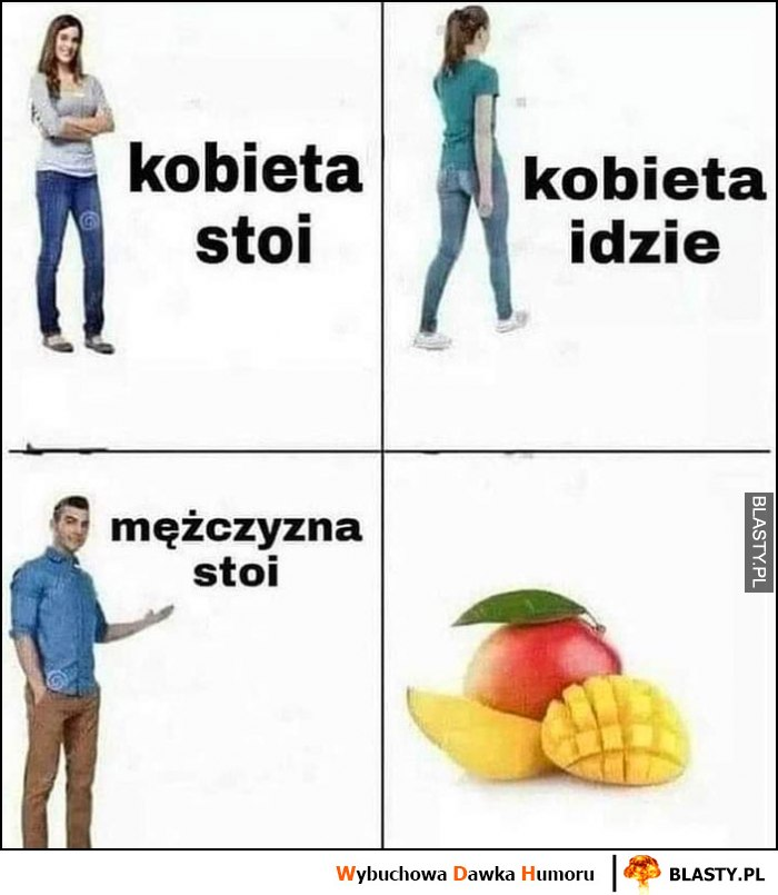 Kobieta stoi, kobieta idzie, mężczyzna stoi, mango
