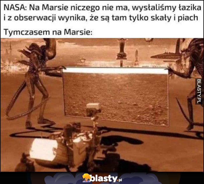NASA: na Marsie niczego nie ma, wysłaliśmy łazika i są tam tylko skały i piach, tymczasem na marsie obcy pokazują łazikowi pusty krajobraz