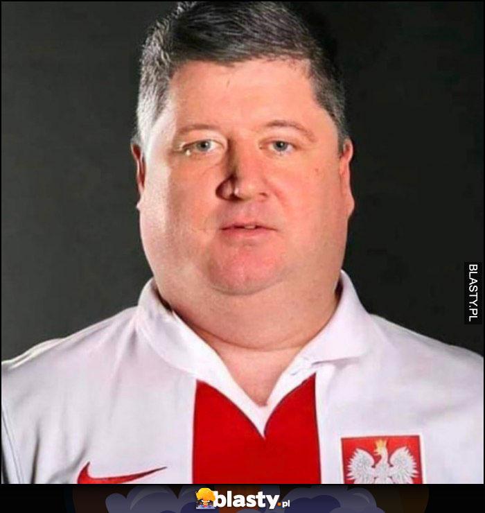Robert Lewandowski gruby Polak pogrubiona twarz