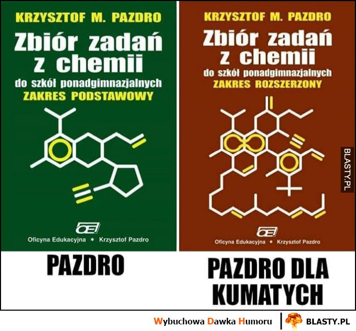 Zbiór zadań z chemii zakres podstawowy Pazdro vs zakres rozszerzony Pazdro dla kumatych