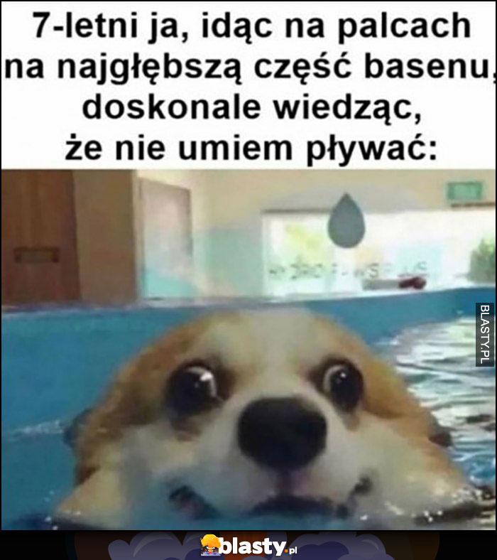 7-letni ja idąc na palcach na najgłębszą część basenu wiedząc, że nie umiem pływać pies