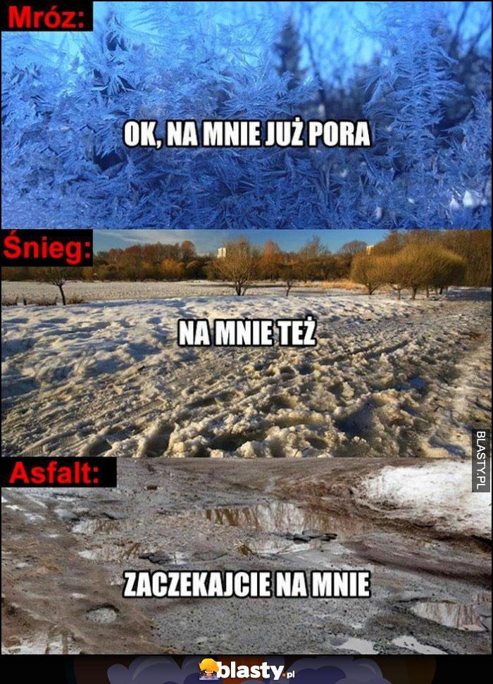 Mróz: na mnie już pora, śnieg: na mnie też, asfalt: zaczekajcie na mnie