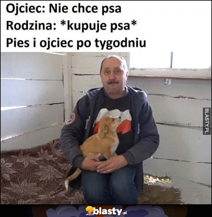 Ojciec: nie chce psa, rodzina kupuje psa, pies i ojciec po tygodniu