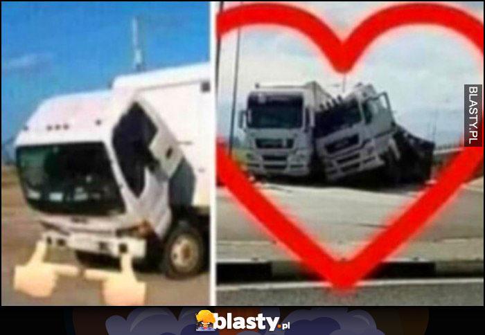 Ciężarówki tiry pochylenie przytulają się do siebie miłość