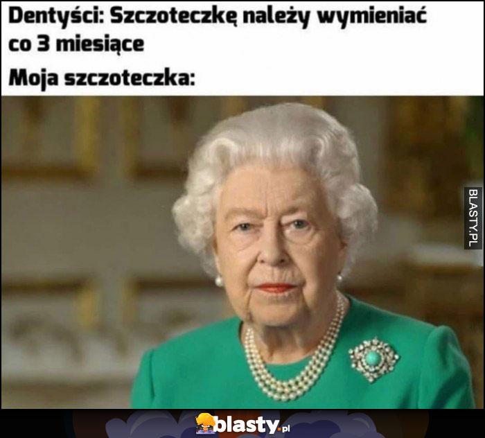 Dentyści: szczoteczkę należy wymieniać co 3 miesiące, moja szczoteczka: królowa Elżbieta