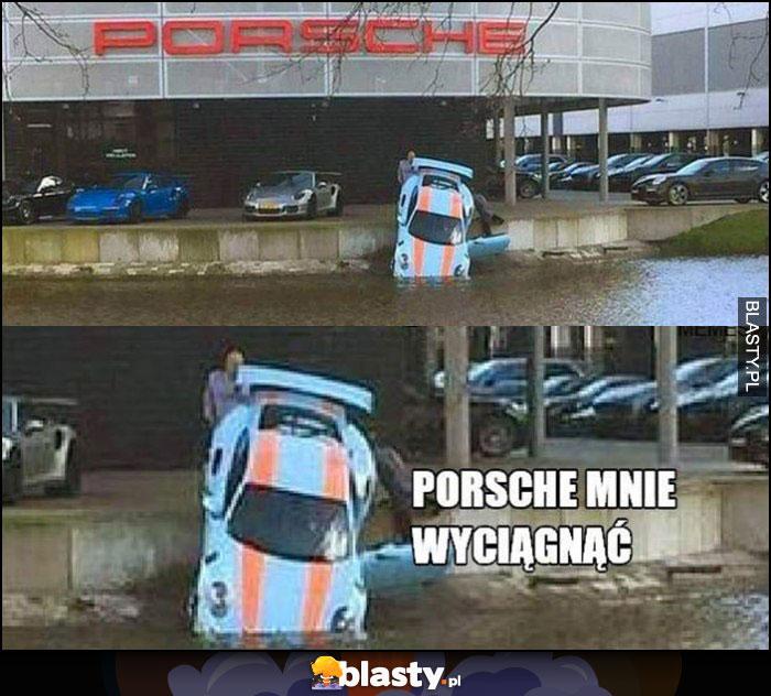 Porsche wpadło do wody rzeki, Porsche mnie wyciągnąć