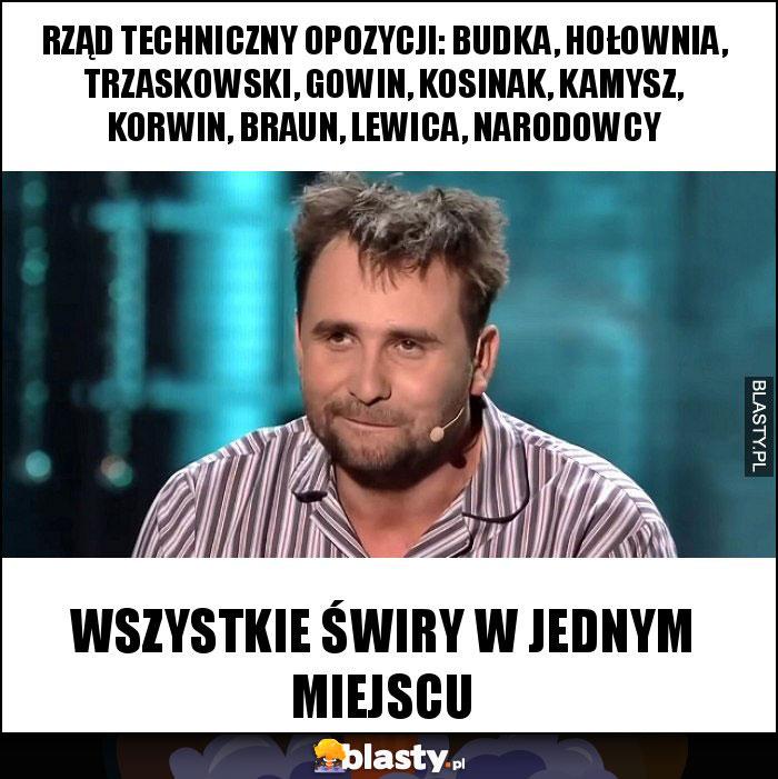 Rząd techniczny opozycji: Budka, Hołownia, Trzaskowski, Gowin, Kosinak, Kamysz, Korwin, Braun, Lewica, NARODOWCY