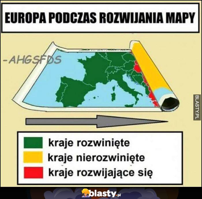 Europa podczas rozwijania mapy: kraje rozwinięte, nierozwinięte, rozwijające się