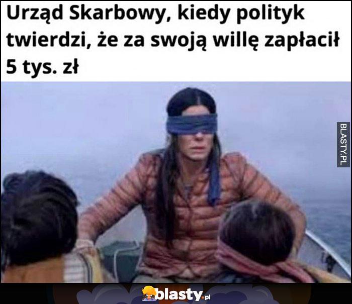 Urząd skarbowy kiedy polityk twierdzi, że za swoją willę zapłacił 5 tysięcy złotych zawiązane oczy