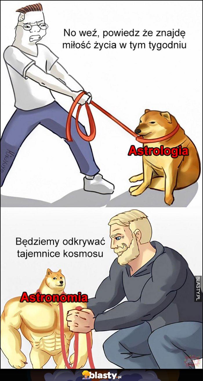 Astrologia vs astronomia pies pieseł doge porównanie