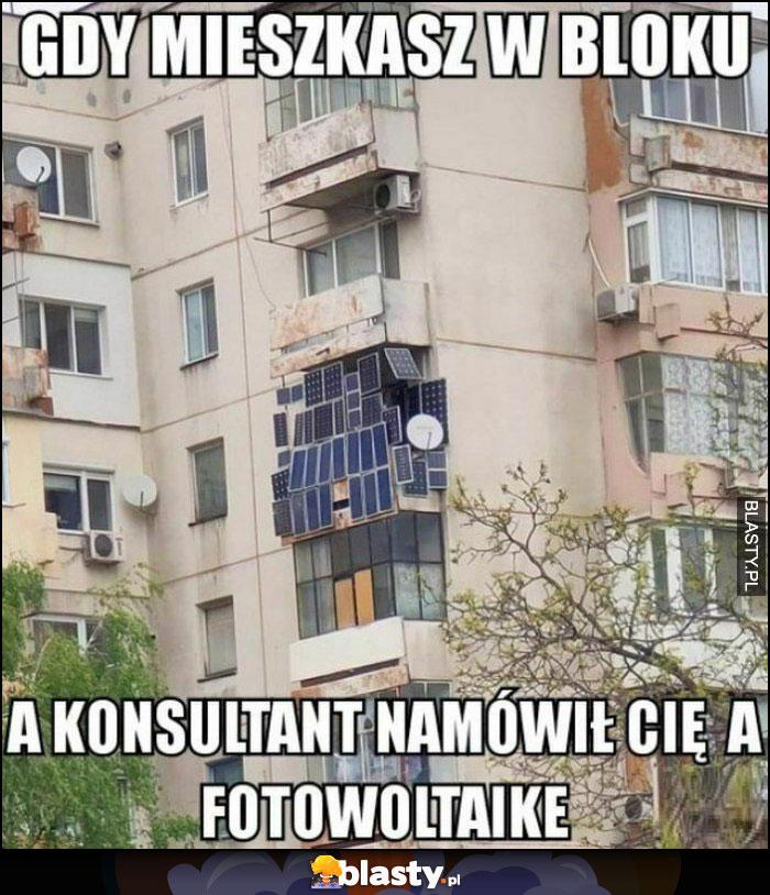Gdy mieszkasz w bloku a konsultant namówił cię na fotowoltaikę cały balkon w panelach słonecznych
