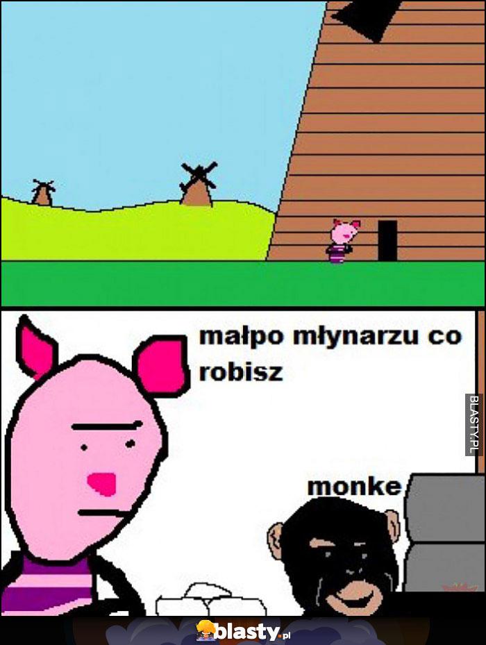Prosiaczek prosiałke: małpo młynarzu co robisz? Monke