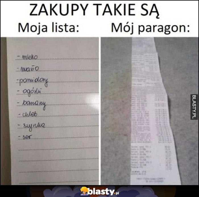 Zakupy takie są: moja lista vs mój paragon porównanie