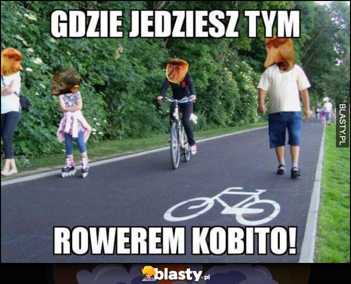 Gdzie jedziesz tym rowerem kobito Polak nosacz na ścieżce rowerowej